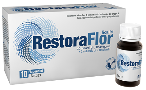RestoraFlor liquid-10 billion cfu of Lactobacillus Rhamnosus GG and 1 billion cfu of Saccharomyces Boulardii